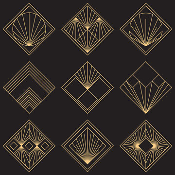 Sacred geometry signs. Art deco symbols. Set of golden icons. Mystical geometric elements. Art Deco diamond emblems. Wire outline gradient logos. Golden foil logotypes. Linear geometry tiles.