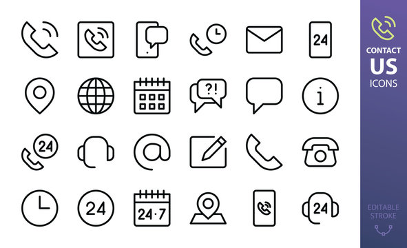 Contact us isolated icons set. Set of contact calling phone, helpdesk support, mobile phone chat, at sign, 24 hours working time, retro telephone, mail outline vector icon for website interface