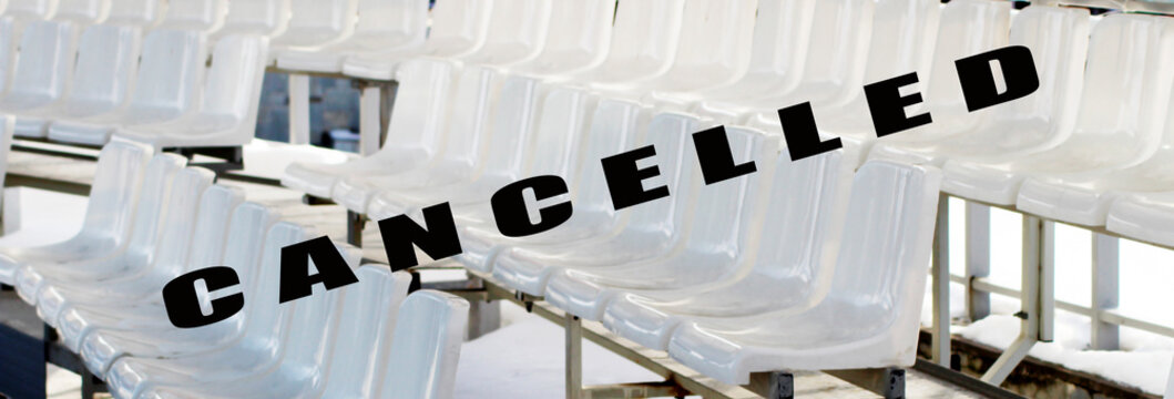 Cancellation of events, quarantine of the coronavirus. Empty seats in a sports stadium.