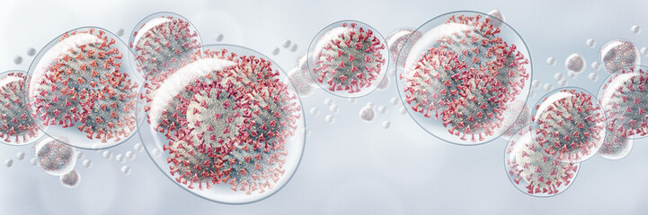 3D illustration of droplets packed with Corona viruses flying in the air