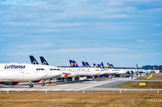 Lufthansa aircraft parked on the north-west runway of Frankfurt Airport