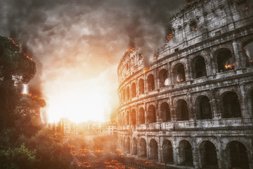 The apocalypse with Rome and the Colosseum on fire Fototapete