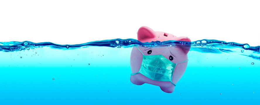 Piggy bank Wearing A Protective Face Mask Drowning In Underwater - Protection Concept And Savings To Risk