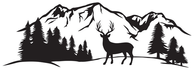Vector illustration of mountain landscape with forest and deer Fotobehang