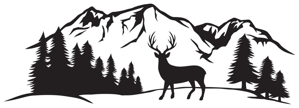 Vector illustration of mountain landscape with forest and deer