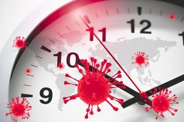 Coronavirus COVID-19 Global Virus Emergency Times Urgent time countdown concept.