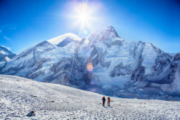 Trekking in Himalayas mountains, Mount Everest