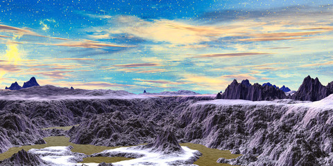 Alien Planet. Mountain and lake. 3D rendering