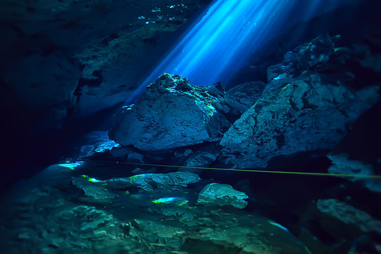 underwater landscape mexico, cenotes diving rays of light under water, cave diving background