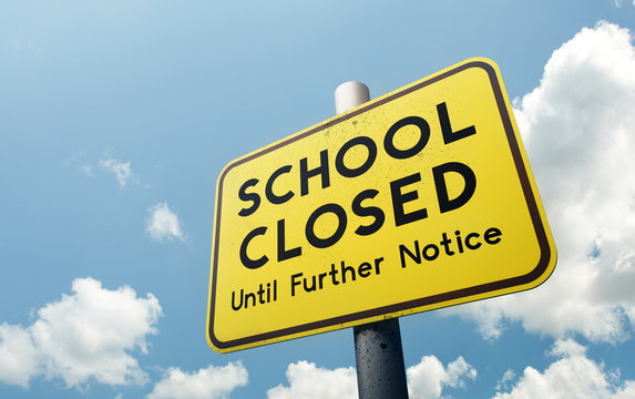 A school closed until further notice public road sign. Schools closing globally due to Covid-19 coronavirus. 3D illustration.