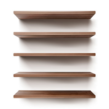 Empty wooden shelves on white wall. Vector realistic mockup of bookshelves in library, wood rack in store, brown timber planks for storage or exhibition in gallery