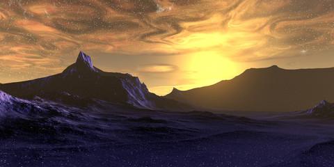 Alien Planet. Mountain. 3D rendering