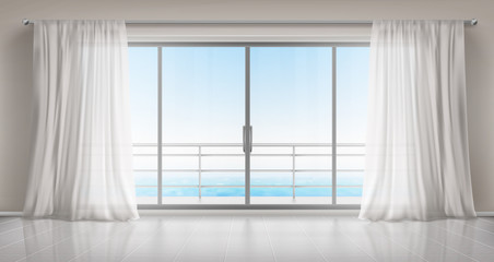Glass windows with white silk curtains and overlooking to sea. Vector realistic interior of empty room in home or hotel with glass doors to balcony, terrace with railings Fototapete