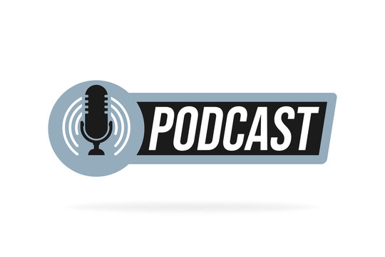 Podcast radio icon illustration. Studio table microphone with broadcast text podcast. Webcast audio record concept logo