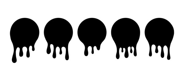Dripping black blobs. Drip drop paint or sauce stain drips. Black drippings oil current round spots, ink paint leak or liquid black stains isolated set. Vector illustration.