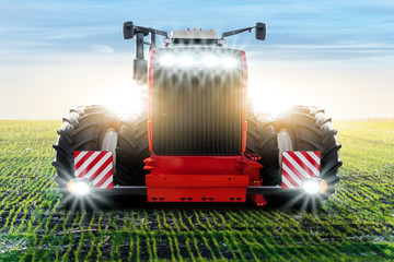 Wall Mural - Front view of agricultural tractor.