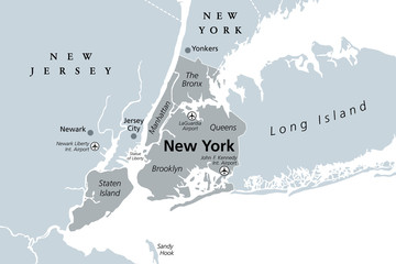 New York City gray political map. Most populous city in the United States located in the state of New York. Manhattan, Bronx, Queens, Brooklyn and Staten Island. English labeling. Illustration. Vector Fototapete