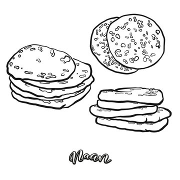 Naan food sketch separated on white