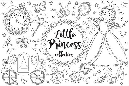 Cute little princess Cinderella set Coloring book page for kids. Collection of design element sketch outline style. Kids baby clip art funny smiling kit. Vector illustration