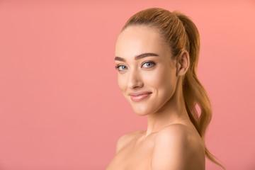 Obraz Pretty Blonde Model Girl Smiling Posing Naked Over Pink Background - fototapety do salonu