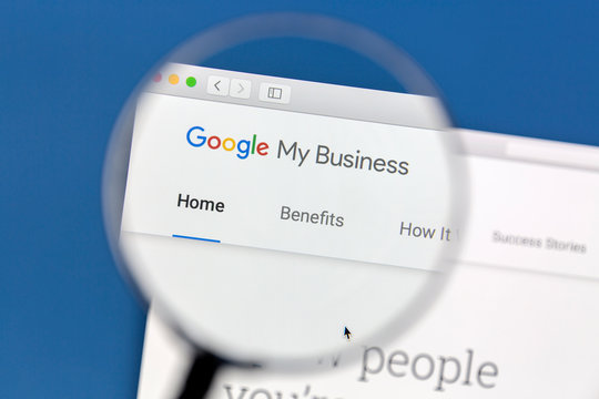 Ostersund, Sweden - December 3, 2016 Closeup of Google My Business website under a magnifying glass. Google My Business is a free and easy-to-use tool for businesses, brands, artists, and organization