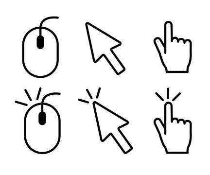 クリック、マウスのアイコン、イラスト、素材、ピクトグラム、ピクト