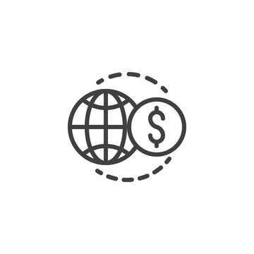 Global finance line icon. linear style sign for mobile concept and web design. World money transfer outline vector icon. Symbol, logo illustration. Vector graphics