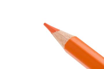 close up of orange pencil isolated on white