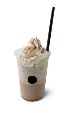 glass of coffee shake with whipped cream and straw in white background