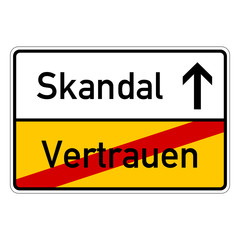 city sign with text vertrauen skandal