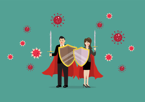 Man and woman with shield sword prepare to fighting coronavirus