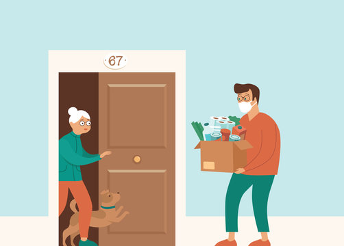 Groceries and Food Delivery for Elderly People during coronavirus COVID-19 quarantine