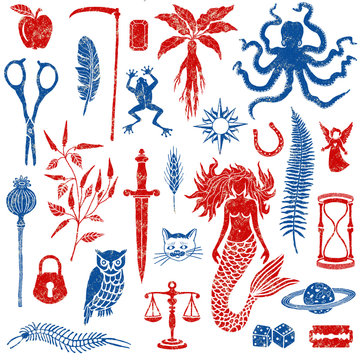Set with magic and mystical elements illustrations in red and blue old style