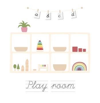 montessori, room, toys, child, kids, education, wooden, play, shelf, illustration, neutral, interior, natural, work, toys, icon, set, design, vector, business, art