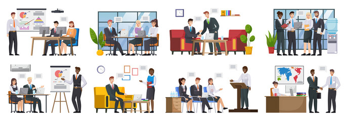 Set with master class presentation training. Teamwork or team building, office business meeting. Team brainstorming, annual report and statistics graphics discussion and planning. Business people work