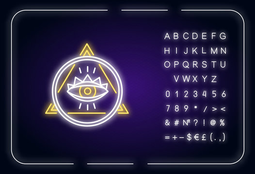Eye of Providence neon light icon. Occult symbol. All seeing eye with circle and triangle. Outer glowing effect. Sign with alphabet, numbers and symbols. Vector isolated RGB color illustration