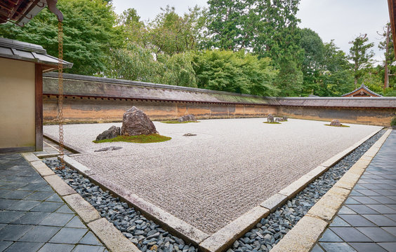 The rock garden of Ryoan-ji temple (The Temple of the Dragon at Peace). Kyoto. Japan