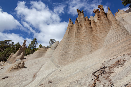 Volcanic lunar landscape from limestone geological formations  in Tenerife, Canary Islands, Spain.