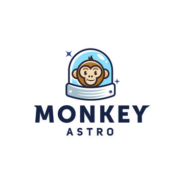 monkey astronaut ,space ape cartoon logo with helmet or spacesuit in trendy vector line linear modern illustration