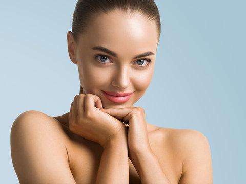 Beautiful eyes woman face healthy skin fashion natural makeup pink lips fresh clean skin