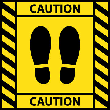 Foot position warning sign sticker reminding of keeping distance to protect from Coronavirus or COVID-19, Vector illustration of feet step keep a safe social distancing