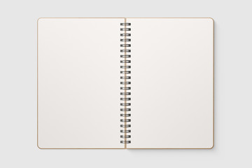 Photo sur Plexiglas Spirale Real photo, blank spiral bound notepad mockup template with Kraft Paper cover, isolated on light grey background. High resolution.