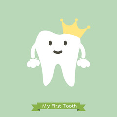 Baby first tooth, tooth is wearing golden crown - dental cartoon vector flat style