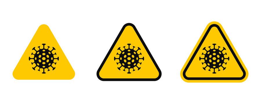 Attention coronavirus. Yellow triangle sign of coronavirus infection COVID-19. Vector
