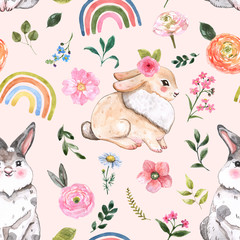 Cute rabbits and flowers seamless pattern. Watercolor Happy Easter print, nursery holiday design. Hand painted baby bunny, leaves, floral elements, rainbows illustration on pastel pink background.