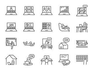Work from home line icon set. Included icons as self quarantine, stay home, working, online, video conference, office and more.