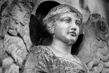 Fototapete - Bottom view of sad angel. Ancient stone statue. Death, pain and end of life concept.