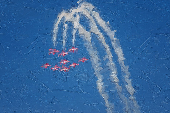 Impressionistic Style Artwork of the Canadian Forces Snowbirds performing at the Gowen Thunder Airshow