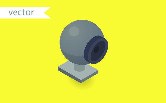 Web cam isolated on yellow background. Isometric vector illustration