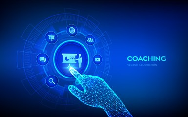 Coaching and mentoring concept on virtual screen. Personal development. Education and e-learning. Webinar, online training courses. Robotic hand touching digital interface. Vector illustration.